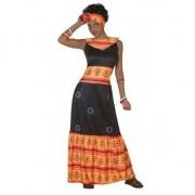 Geen Afrikaanse jurk verkleed kostuum zwart/oranje voor dames