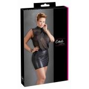 Cottelli Plus Size – lesklé šifónové šaty (čierne)