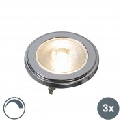 QAZQA Set of 3 G53 AR111 LED 10W 800LM 3000K Dimmable