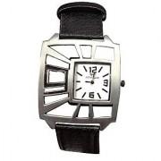 Men Advogue Sliver Dial Black Belt Boys Designer Dial Watches