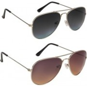 Marabous Aviator Sunglasses(Black, Grey, Black, Brown)
