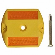 RE-FOX ABS Plastic Reflective Studs Road Safety Base with Reflector and Nail (Yellow)