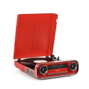 Auna Challenger LP Plattenspieler Bluetooth UKW-Radio USB rot
