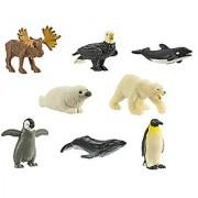 Safari Ltd Arctic Minis Fun Pack (Including Killer Whale Humpback Whale Emperor Penguin Emperor Penguin Chick Moose Polar Bear Harp Seal and Bald Eagle)