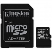 Карта Памет Kingston microSDHC 32GB, Class 10 UHS-I с адаптер SD KIN-SDC10G2/32GB