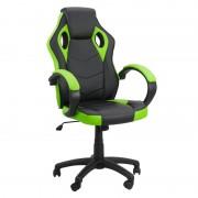 Scaun pentru gaming, inaltime maxima 121 cm, suporta 110 kg, Negru/Verde