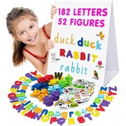 Alphabet Magnets - Magnetic Letters - Abc Magnets - 182 Foam Letters - 52 Kids Magnetic Objects - Dry Erase Board for Kids - Fridge Toddler Magnets for Kids - BEST GIFT for LEARNING ACTIVITIES
