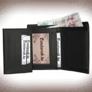 Elegáns valódi bőr fekete pénztárca és irattárca - 11057
