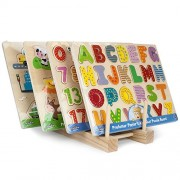 Professor Poplars Puzzle Bundle: Alphabet, Numbers, Barnyard Helpers And People Movers Wooden Puzzles With Natural Wood Display Stand