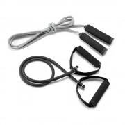Set fitness cu elastic si coarda de sarit, in husa din poliester, Everestus, SFT01, negru, saculet sport inclus