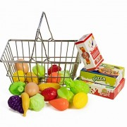 IQ Toys Stainless Steel Shopping Basket with Hard Plastic Play Food