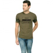 TRENDS TOWER Half Sleeve Round Neck Mens T-Shirt Olive-Green Color Single And Unavailable Graphics Print