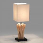 Design Tischleuchte mit Stoffschirm in Creme Weiß Eisenholz Fuß