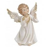 Geen Decoratie beeldje engeltje met gouden hart 9 cm