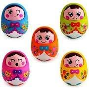 Webby Push and Shake Wobbling Roly Poly Tumbler Doll with Soft and Sweet Bell Sounds, Multi Color