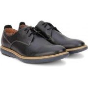 Clarks Flexton Plain Black Leather Casual For Men(Black)