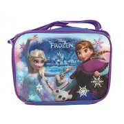 Disney Frozen Lunch Bag with Strap Features Elsa Anna Olaf Purple Blue Glitter Snow Sparkles