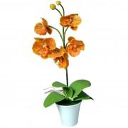 Orhidee artificială în ghiveci, portocaliu, 35 cm
