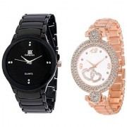 IIK Collection Black With Rose Gold Dubbel Heart Analog watch For Men And Women Combo And Cupple Watch