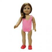 ZITA ELEMENT Doll Clothes -Beach Swimsuit fits for American's Girl Doll, My Life Doll, Our Generation and other 18 inch Dolls, White, Blue, Pink, Rose Red color available. (Pink)