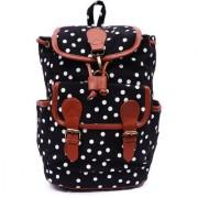 Suprino Women and girls Canvas Polka Dot Printed Black back Pack