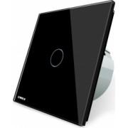 Intrerupator simplu cap scara / cap cruce wireless cu touch Livolo din sticla Negru