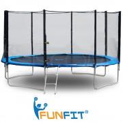 Trambulina Mare FunFit pentru Copii si Adulti, Diametru 404cm 13FT, Scarita Inclusa, Capacitate 180kg, Plasa Laterala cu Fermoar