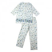 ≪CLEAL HOUSE≫綿100%婦人パジャマ 花パネルプリント・七分袖(サックス)