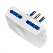 ENERGYX Doppia spina piatta adattatore 4 prese 10/16A sp16 4 posti bianco