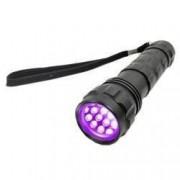 Lanterna UV 14 LED-uri 385 nm aluminiu IP54 alimentare 3 baterii AAA