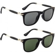 Poloport Wayfarer Sunglasses(Black, Green)