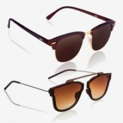 Knotyy Clubmaster, Retro Square Sunglasses(Brown, Brown)