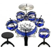 11 Piece Children's Kid's Musical Instrument Drum Play Set w/ 6 Drums, Cymbal, Chair, Kick Pedal, Drumsticks (Blue) Instruments for Kids