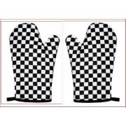 Black & White chequered Cotton Oven Gloves