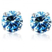 Unheated & Untreated blue Topaz Stone With Natural Topaz Stud Silver Plated Earring Jaipur Gemstone