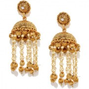 Rubans Gold Toned Handcrafted Long Jhumka Earrings