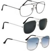 Phenomenal Retro Square Sunglasses(Clear, Black, Blue)