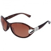 Silver Kartz Brown-Pyramid Oval Cat-eye Sunglasses (Brown)