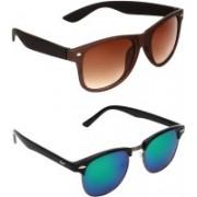Zyaden Wayfarer, Clubmaster Sunglasses(Brown, Multicolor)