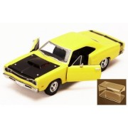 Motor Max 1969 Dodge Coronet Super Bee, Yellow With Black Hood - Motormax Premium American 73315 1/24 Scale Diecast Model Car