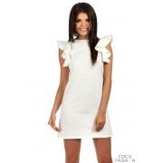 Ecru High Neck Shift Dress with Waterfall Shoulders