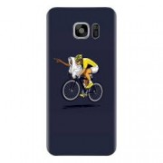 Husa silicon pentru Samsung Galaxy S6 Edge ET Riding Bike Funny Illustration