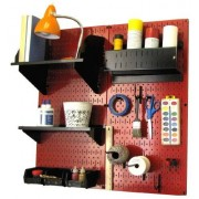 Wall Control 30-CC-200 RB Hobby Craft Pegboard Organizer Storage Kit with Red Pegboard and Black Accessories