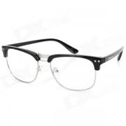 El capitulo de moda unisex mitad-borde de metal Llanura Gafas para la miopia Gafas - Negro