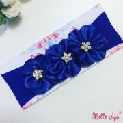 "bellejuju Bandolete/Fita Infantil ""Beatriz"" azul-bic com 3 flores"