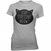 Womens Slogan Collection Camiseta Stop Stressing Meowt - Mujer - Gris - XXL - Gris