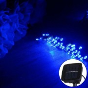 10m 800-1200LM Solar Panel 100 LED Festival Fairy String Lights with 1.9m Extended Cable(Blue Light)