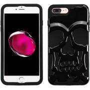 Funda Case Para Iphone 8 Plus / Iphone 7 Plus Doble Protector De Uso Rudo - Calavera Negro