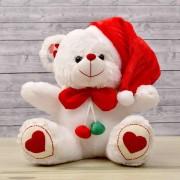 White 15 Inch Christmas Bow Teddy Bear with Santa Cap