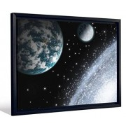"""JP London FCNV2152 Framed Gallery Wrap Heavyweight Canvas Art Wall Decor (Earth And Moon From Swirling Star Galaxy at 20.375"""" High x 26.375"""" Wide x 1.25"""" Thick)"""